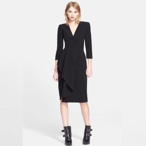 Alexander McQueen Dresses - Alexander McQueen Asymmetric Draped V Neck Dress